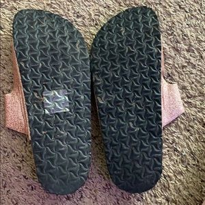 SO Shoes - knock off rose gold glittery birkenstock's